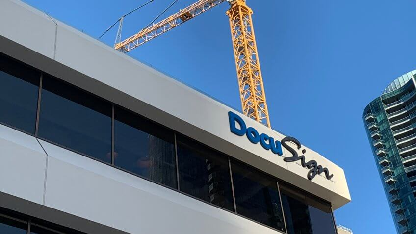 San Francisco Ca October 10 2018: DocuSign is a San Francisco–based company that provides electronic signature technology and digital transaction of contracts and signed documents.
