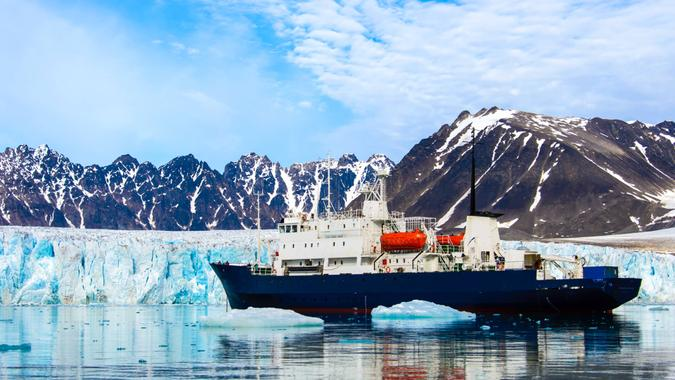 Expedition vessel in Svalbard.