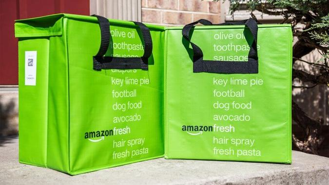 Insulated grocery delivery bags on front porch