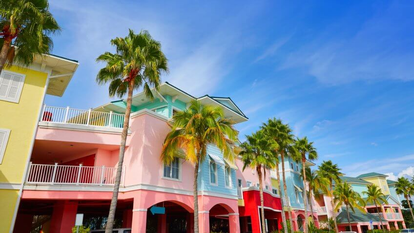 Florida Fort Myers colorful facades and palm trees in USA - Image.