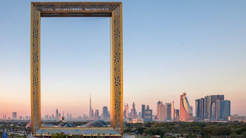 Dubai, United Arab Emirates, January 13th, 2018: Dubai Frame building at sunrise.