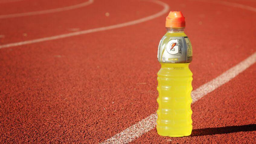 Montreal, CANADA - October 13, 2014: Orange Gatorade bottle on a race track.