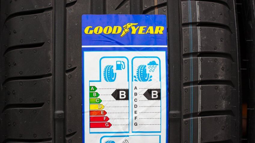 Goodyear Tires label on tire