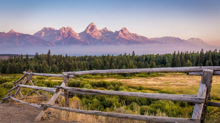 View of Grand Teton Mountains.