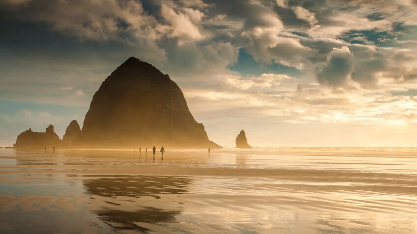 Oregon's Cannon Beach at sunset and in between storms.