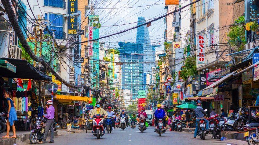 Ho Chi Minh, Vietnam - December 1, 2016: Bui Vien Street (a tourist area).