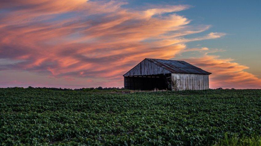 Indiana landscape at sunset
