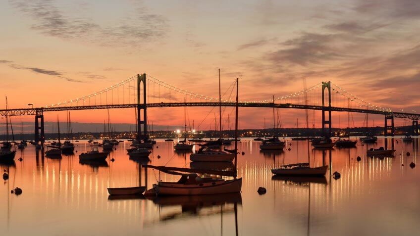 Newport Bridge at sunrise, Jamestown, Rhode Island, USA.