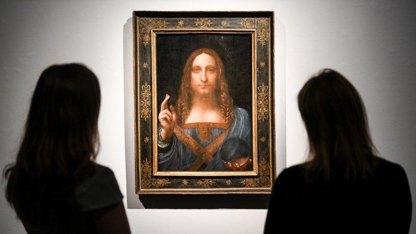 Leonardo da Vinci's Salvator Mundi painting at Christie's auction house