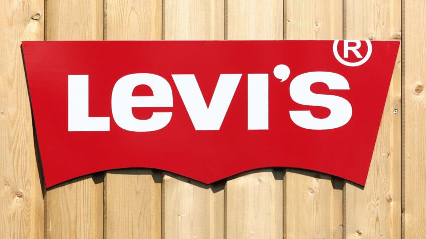 Villefranche, France - June 11, 2017: Levi Strauss logo on a wall.