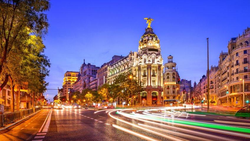 Madrid, Spain cityscape at night.