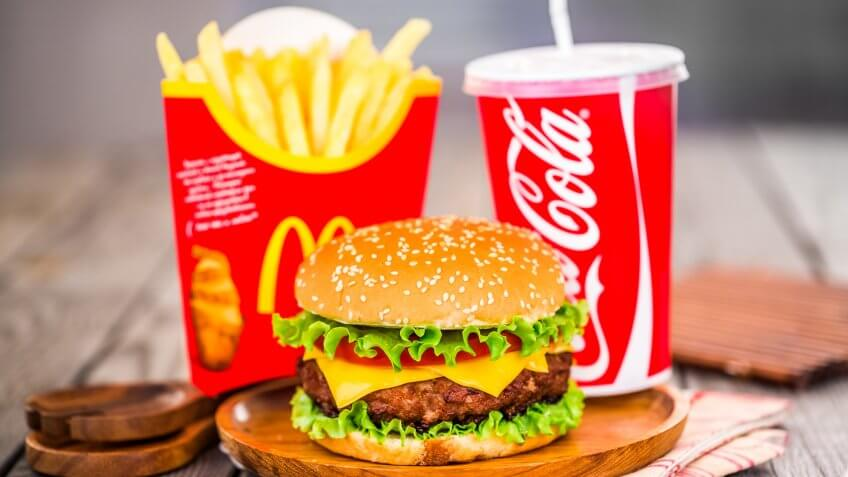 MOSCOW, RUSSIA-October 6, 2014: McDonald's food.
