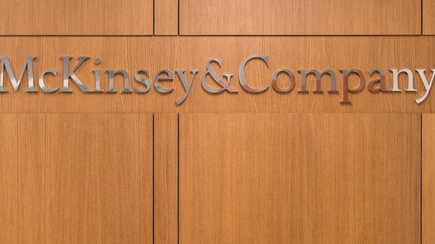 Istanbul, Turkey - November 2017: Mckinsey and Company logo at the front desk reception of Istanbul office.