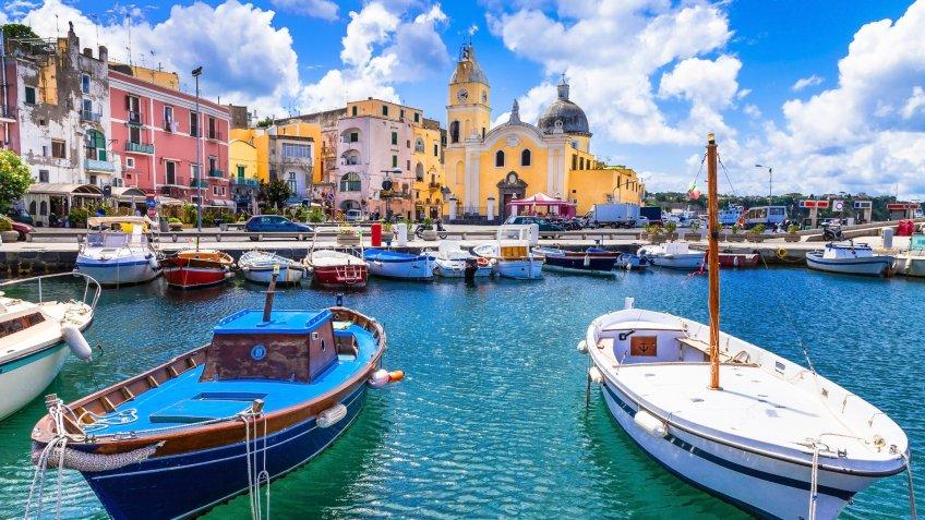Italian holidays - cute small island Procida in Campania, Italy.
