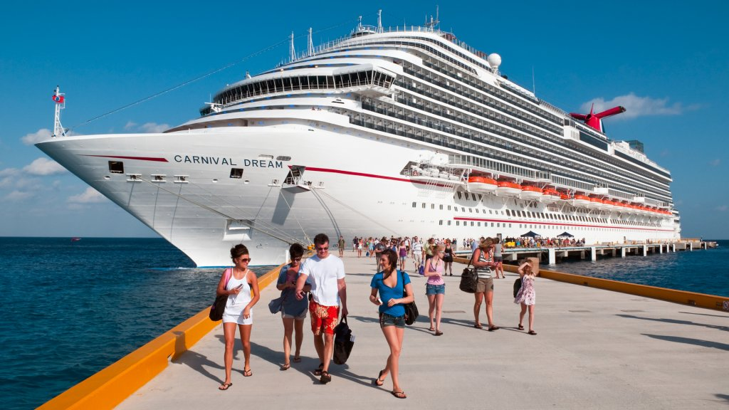 Cozumel, Mexico - March 21, 2011: Passengers disembark from the Carnival Dream during a port stop on 7-day Western Caribbean cruise.
