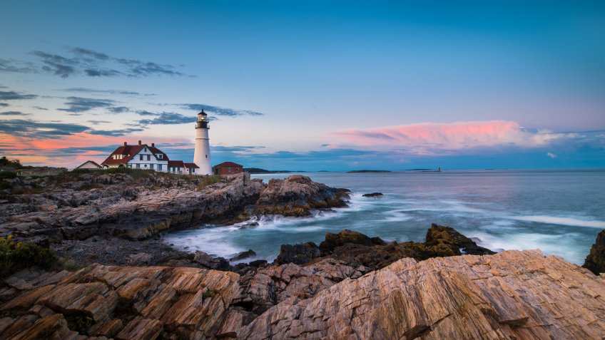 Atlantic Ocean, Lighthouse, Sea, Water, Portland - Maine.