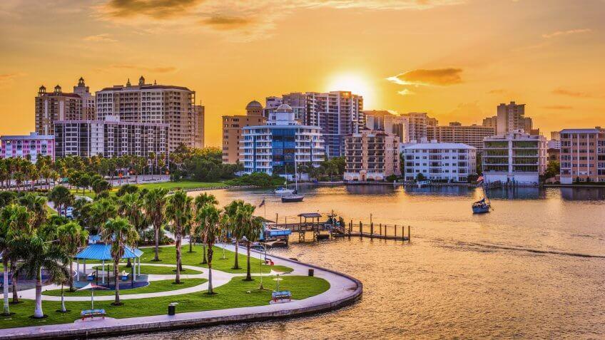 Sarasota, Florida, USA downtown skyline on the bay at sunrise.