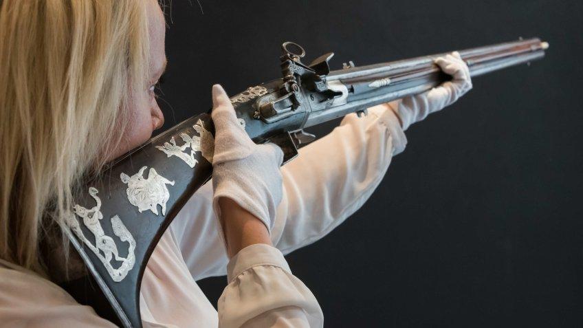 Spanish 20 bore silver sporting gun at auction