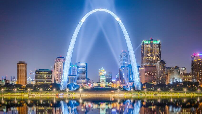 The St. Louis city skyline with Gateway Arch at dusk