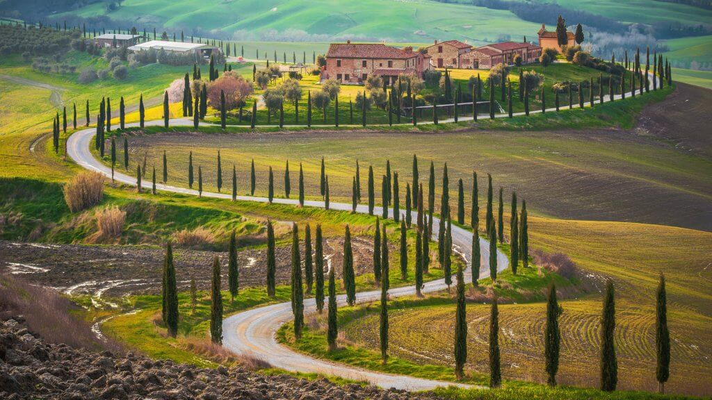 Sunny fields and winding road in Tuscany, Italy