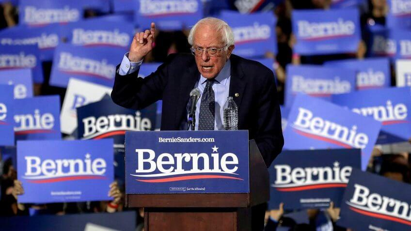 US Democratic Presidential Candidate Bernie Sander at campaign rally
