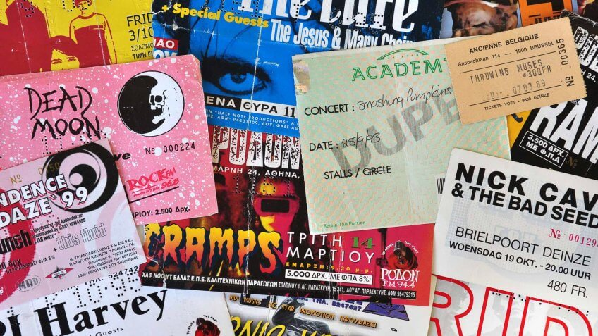 Vintage live concert ticket stubs alternative indie