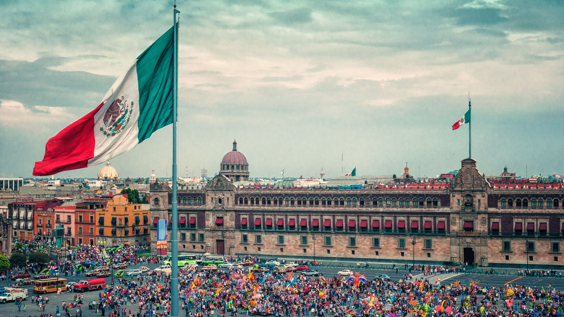 Principal Square with Flag in Mexico City.