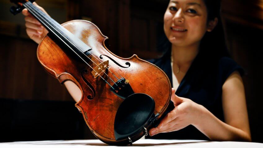 a Stradivarius violin at Sotheby's auction house