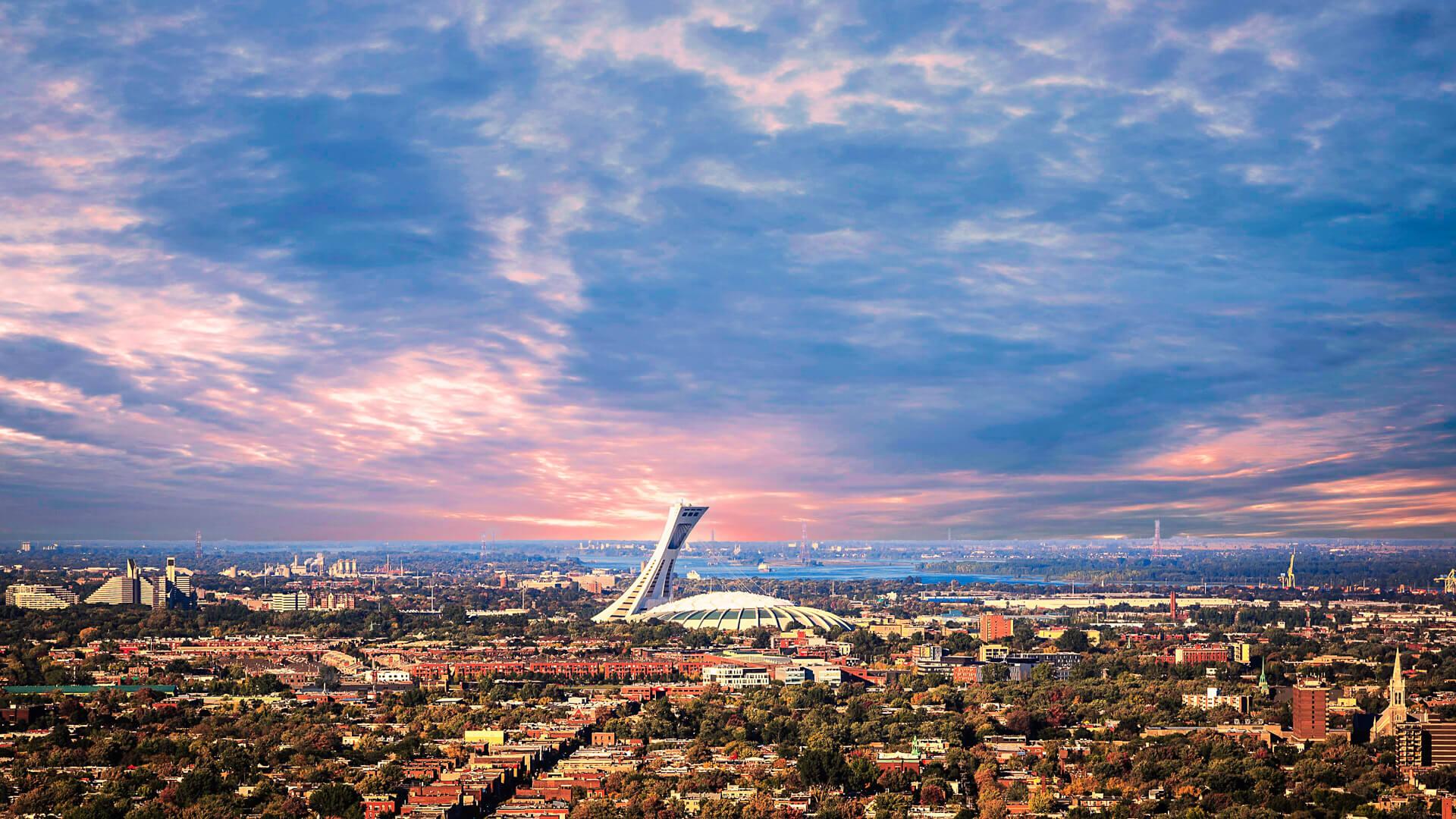 Montreal skyline in sunset.
