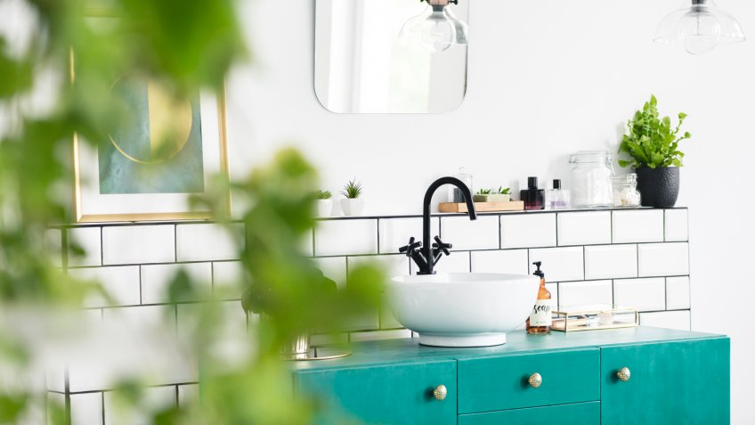 Close-up of blurred leaves with a sink, green cupboard and mirror in the background in the bathroom interior.