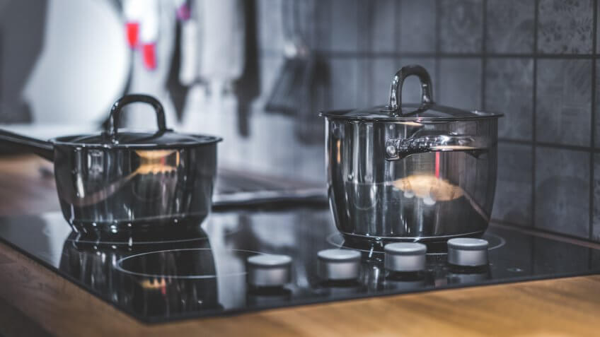 Cooking Pot On Electric Stove.