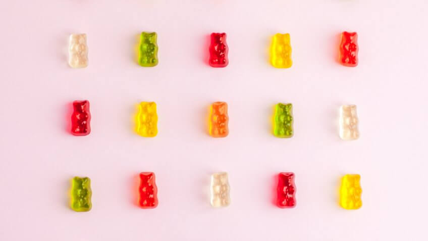 gummy bears on pink background