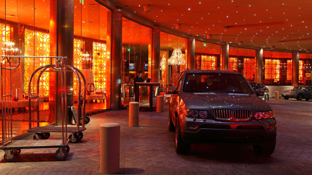 Palm Springs,United States - November 9,2011: Front entrance of glitzy hotel at night.