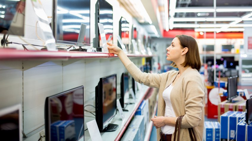 woman buys the TV.
