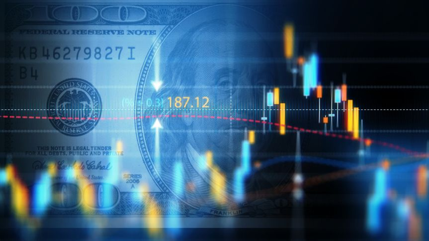 Financial data analysis graph showing market trends over one hundred American dollar bill on a digital display.