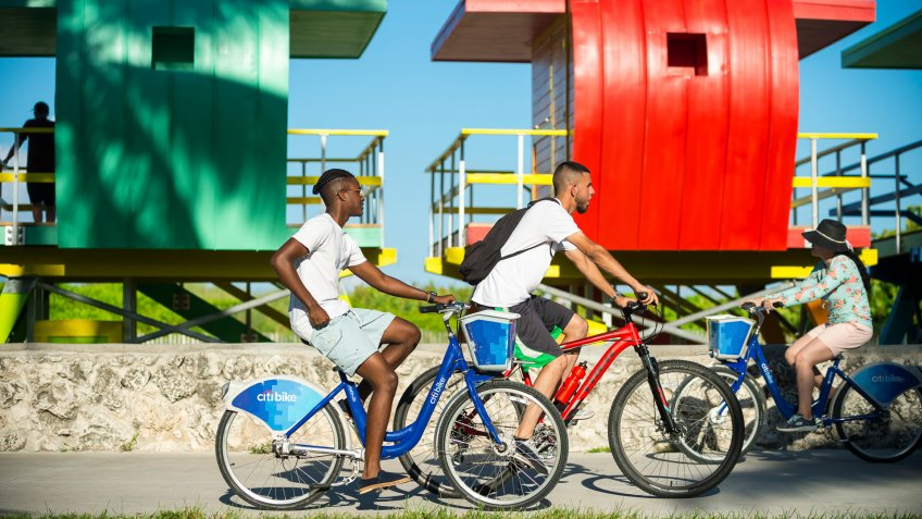 people bike in Miami South Beach in Florida