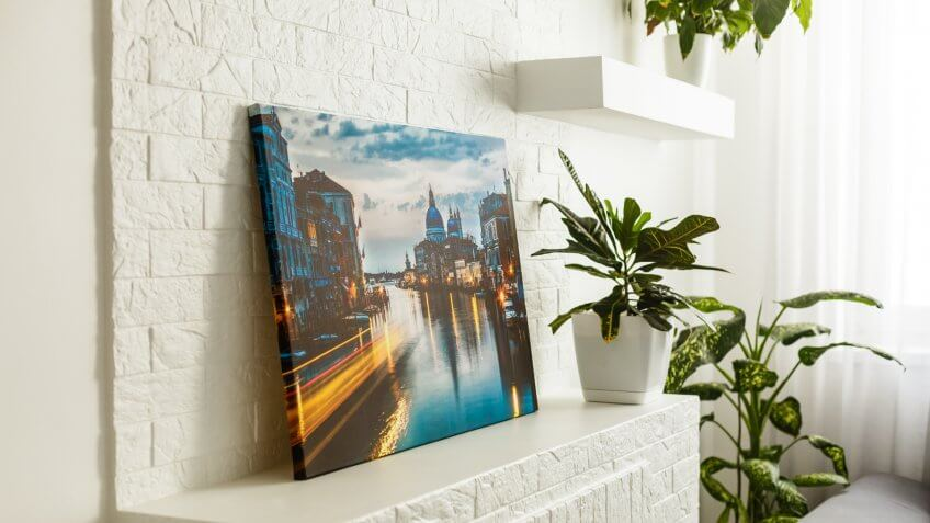 photographic print on canvas in living room