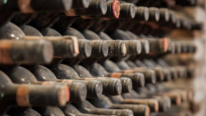 vintage wine in cellar