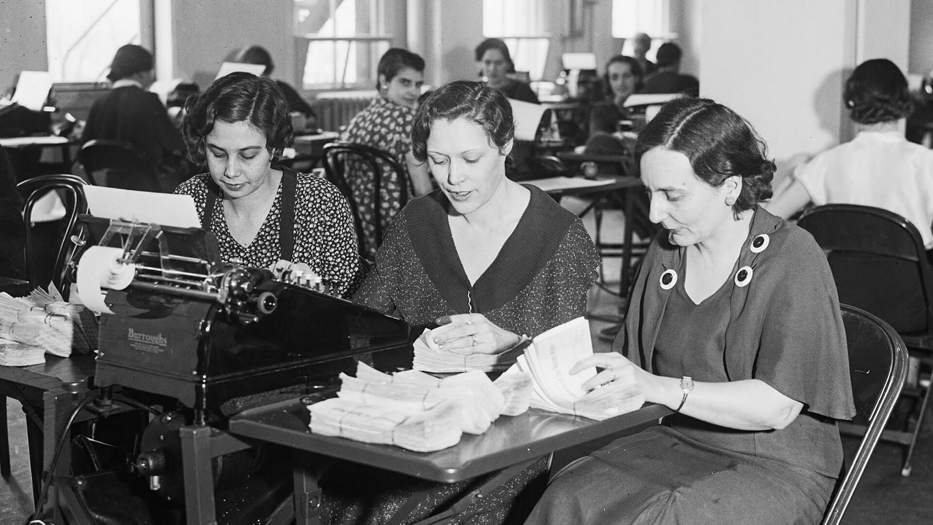 women working in an office in 1933