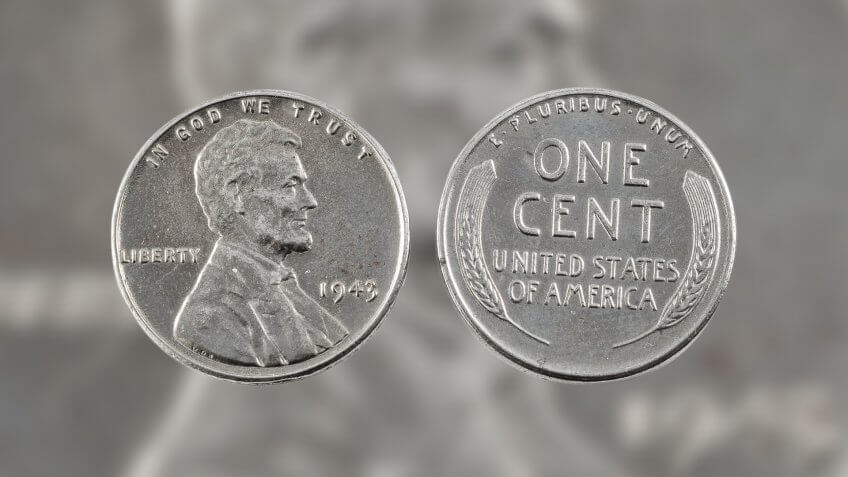 1943 zinc-coated steel US Penny one cent