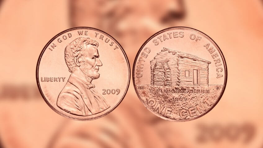 2009 US Penny with Lincoln and birth and early childhood Kentucky reverse