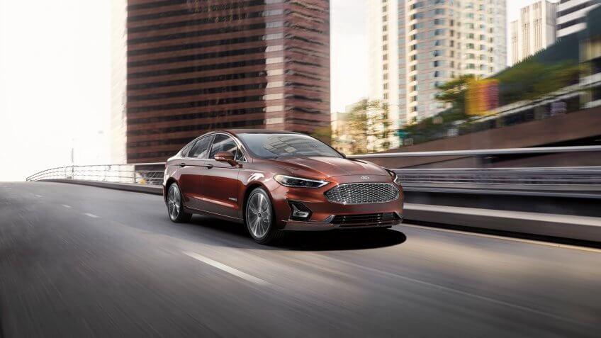 2019 Ford Fusion Hybrid Titanium rich copper metallic.