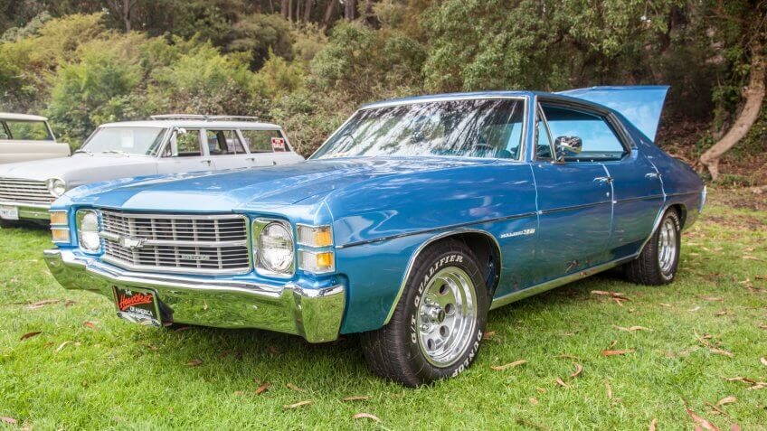 SAN FRANCISCO - SEPTEMBER 29: A 1971 Chevrolet Chevelle Malibu 350 4 door is on display during the 2012 Jimmy's Old Car Picnic in Golden Gate Park in San Francisco on September 29, 2012.