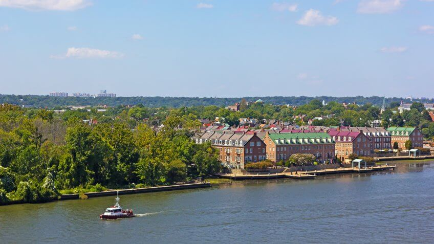 A river waterfront along the river of nationally designated historic district in early fall in Alexandria Virginia