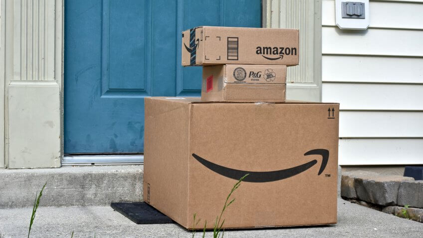 Amazon delivery boxes on doorstep