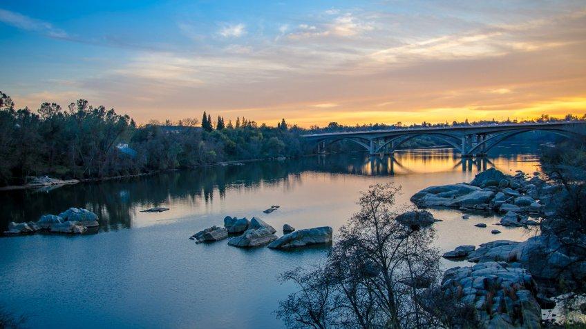 American River sunset in Folsom California