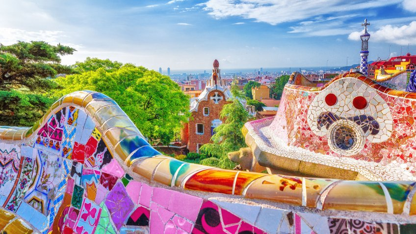 Antonio Gaudi Park Guell in Barcelona Spain