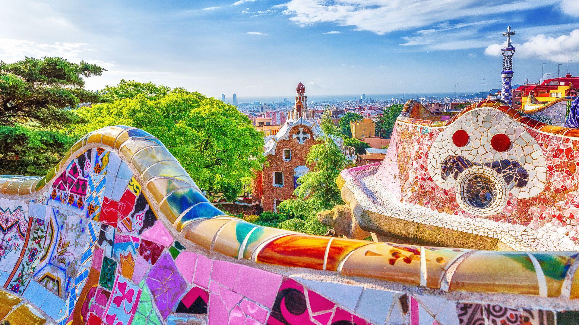 Antonio Gaudi Park Guell in Barcelona Spain