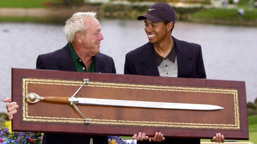 Arnold Palmer and Tiger Woods successful athlete golfers