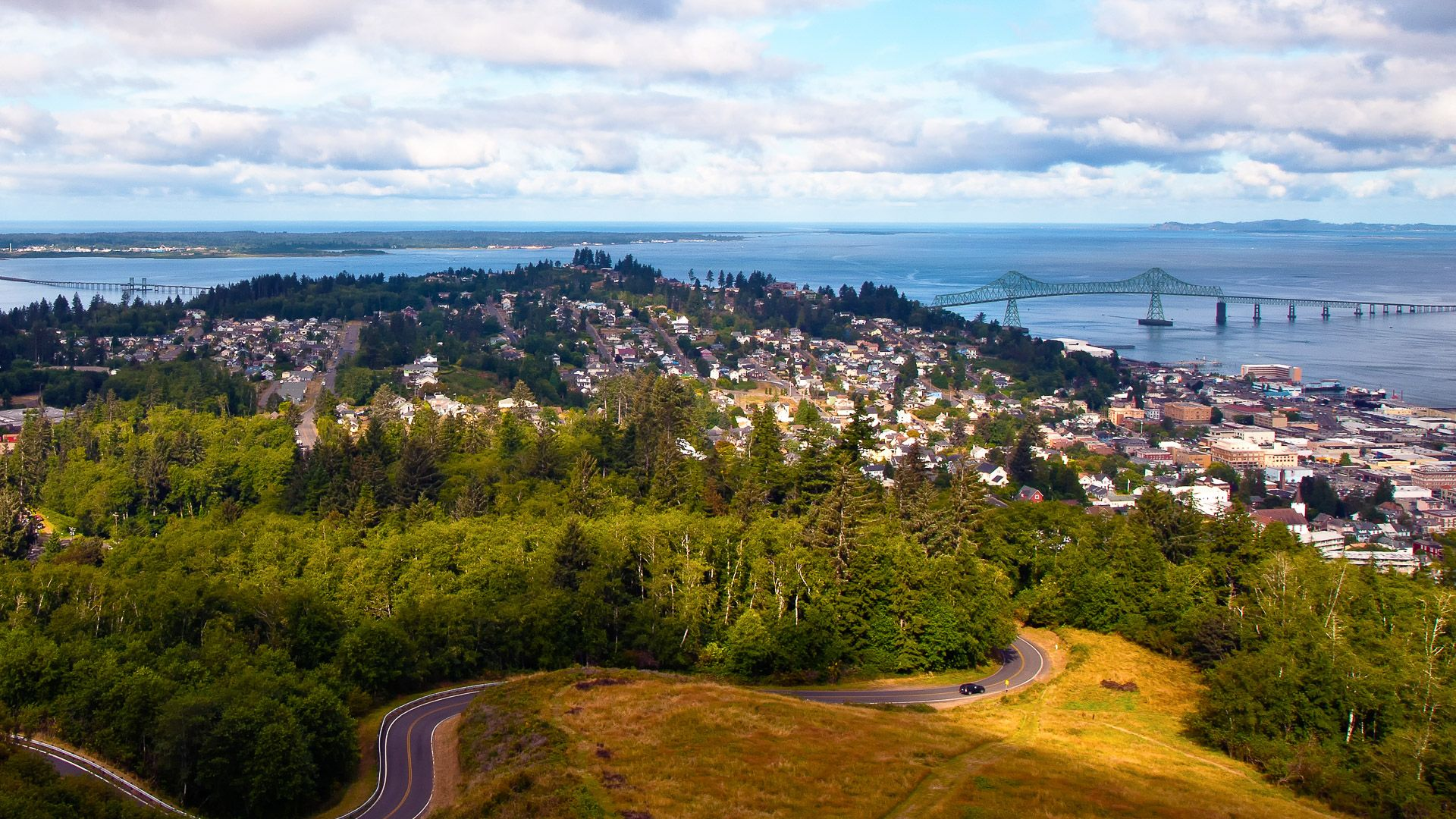 Astoria Oregon from top of mountain